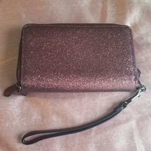 Coach Bags - Double Zip Wallet Metallic Cherry